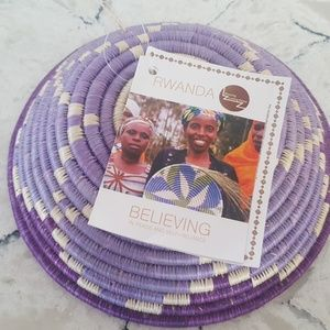 Global Goods Partners Accents - Handwoven Rwandan bowl - Purple- Global Goods